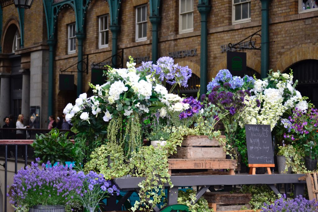 Flower display in covent garden market, London, the setting for Alexandra's story in the Tutorean Tutors of London project.