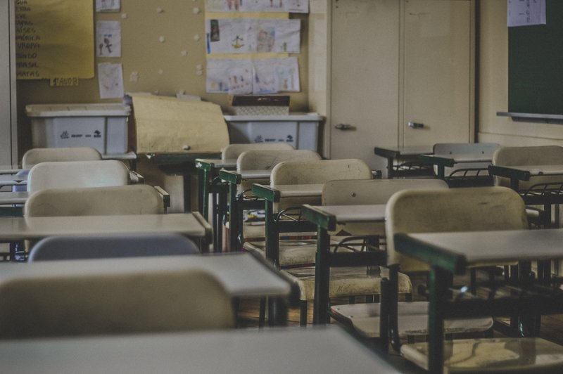 Empty desks in a school classroom